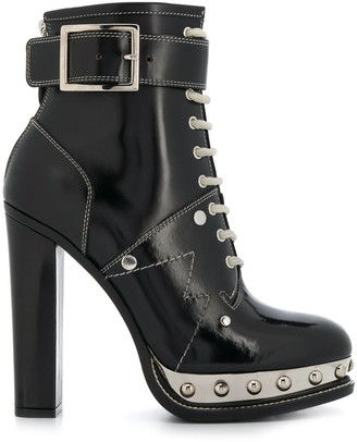 Alexander McQueen Studded Metallic Platform Sole Ankle Boots