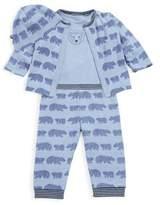 Offspring Baby Boy's Four-Piece Printed Cotton Reversible Cardigan, Bodysuit, Pants & Hat Set