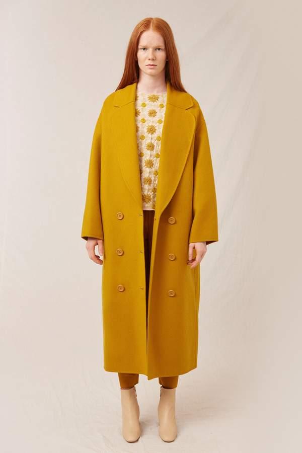 Mansur Gavriel Wool Cashmere Oversized Coat - Mustard