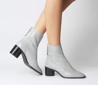 Office Achilles Unlined Block Heels Grey Leather