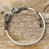 Elephant Themed Silver 925 Cuff Bracelet from Thailand, 'Cheerful Elephant'