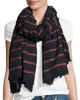 Rag & Bone Rowing Striped Scarf with Fringed Edges, Navy