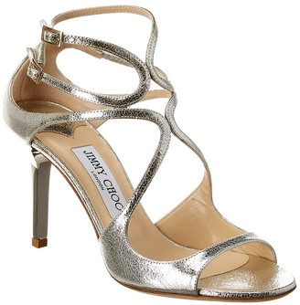 Jimmy Choo Ivette 85 Glitter Leather Sandal