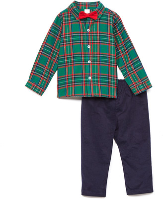 Baby Essentials Boys' Dress Pants Green - Green Plaid Bow Tie Button-Up & Navy Pants - Infant