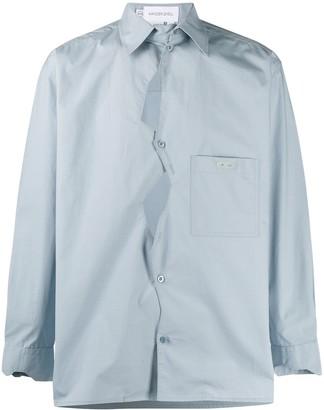 Xander Zhou Asymmetric Button Patch Pocket Shirt