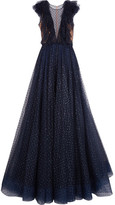 Jenny Packham Ruffled Embellished Tulle Gown - Midnight blue