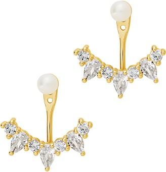 Sterling Forever Natural Pearl Jacket Earrings