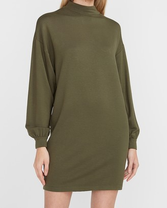 Express Soft Knit Mock Neck Balloon Sleeve Shift Dress