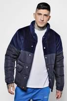 boohoo Velour Panel Padded Jacket
