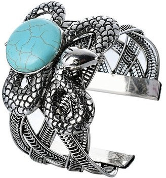 Semi-precious Faux Turquoise BOHO Silver Tone Adjustable Fashion Cuff Bracelet, by JADA Collections