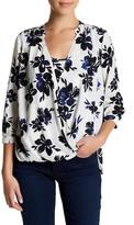 NYDJ Drape Front Floral Blouse Cami Insert (Petite)