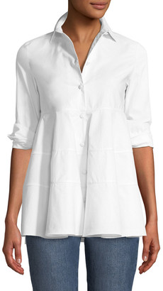 Co Tiered Button-Front Blouse