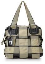 Fendi Cream Mesh Crossword Handbag Large