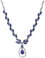 Effy Royalé Bleu Sapphire (10-1/2 ct. t.w.) and Diamond (9/10 ct. t.w.) Fancy Teardrop Statement Necklace in 14k White Gold