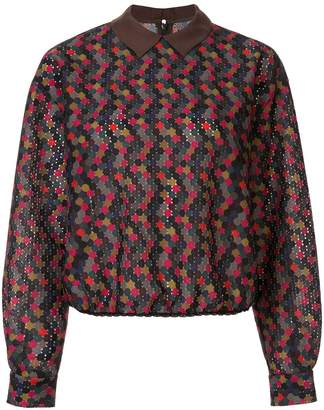 Kolor contrasting collar dotted blouse