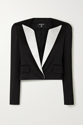 Balmain Cropped Two-tone Duchesse-satin Blazer - Black