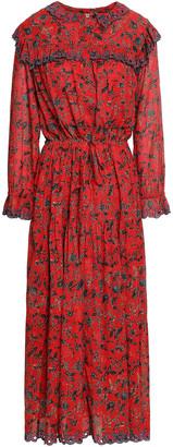 Etoile Isabel Marant Gathered Embroidered Printed Cotton Midi Dress