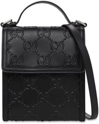 Gucci Gg Debossed Leather Crossbody Bag