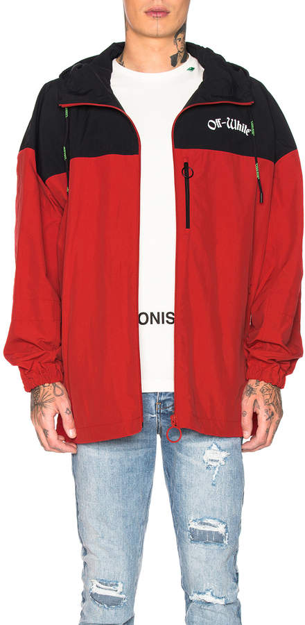 Off-White Off White Windbreaker Jacket in Red & White | FWRD