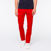 Paul Smith Men's Slim-Fit Red Mercerised-Cotton Trousers