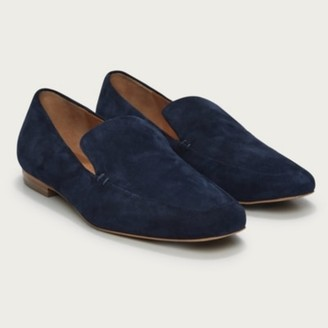 The White Company Suede Square-Toe Loafers, Navy, 36