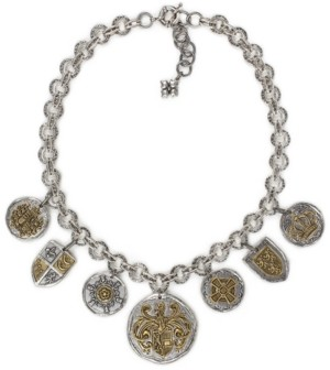 "Patricia Nash Two-Tone Coin & Crest Statement Necklace, 19"" + 2""extender"