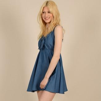 Molly Bracken Denim Mini Dress with Shoestring Straps and V-Neck