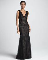 Monique Lhuillier Sleeveless Lace & Tulle Gown