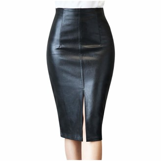 erthome1 Womens Faux Leather Vintage Dress Pencil Skirt Autumn and Winter Leather Slim Bag Hip Mini Skirt Slim Fit Business Skirt Wedding Guest Dress Black