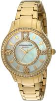 Stuhrling Original Women's 559.04 Symphony Quartz Crystal Accented 23K Gold Tone Stainless Steel Link Bracelet Watch