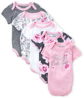 Juicy Couture Newborn Girls) 5-Pack Floral Logo Bodysuits