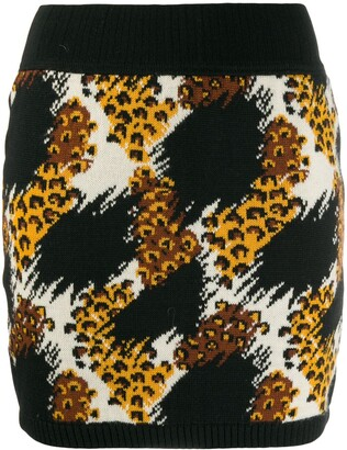 Saint Laurent Pre-Owned 1991 animal printed knitted skirt