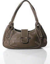 Tod's Tods Brown Leather Zipper Closure Baguette Shoulder Handbag Size Small