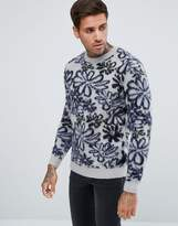 Asos Mohair Mix Sweater with All Over Flower Design