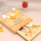 GiftsOnline4U Personalised Wooden Cheese Board Set With Knives