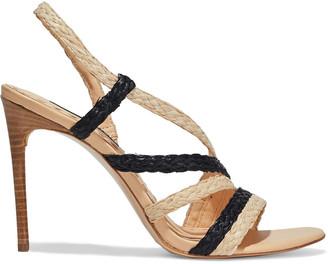Alice + Olivia Fanniey Two-tone Braided Raffia Slingback Sandals