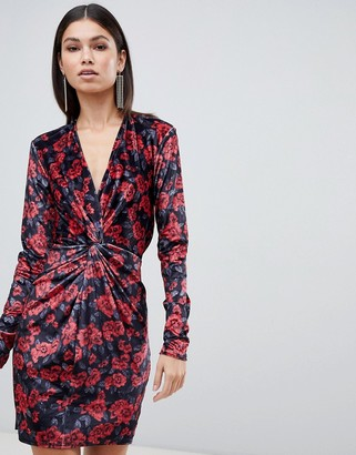 Club L London floral printed knot front mini dress in velvet-Red