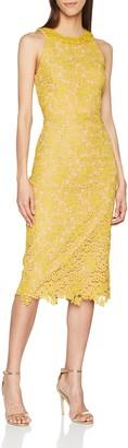 Little Mistress Women's Mustard Lace Bodycon Dress Party