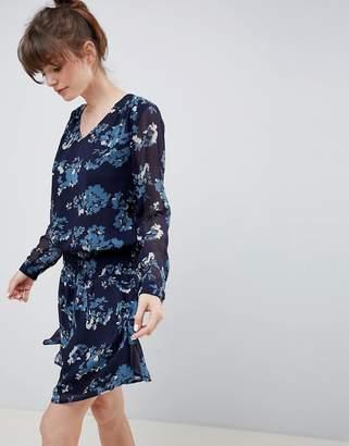 Ichi Floral Waisted Dress-Navy