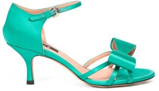 Rochas Bow-trim Satin Sandals - Womens - Green