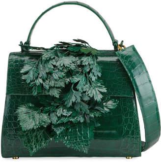 Nancy Gonzalez Lexi Crocodile 3D Leaf Top Handle Bag