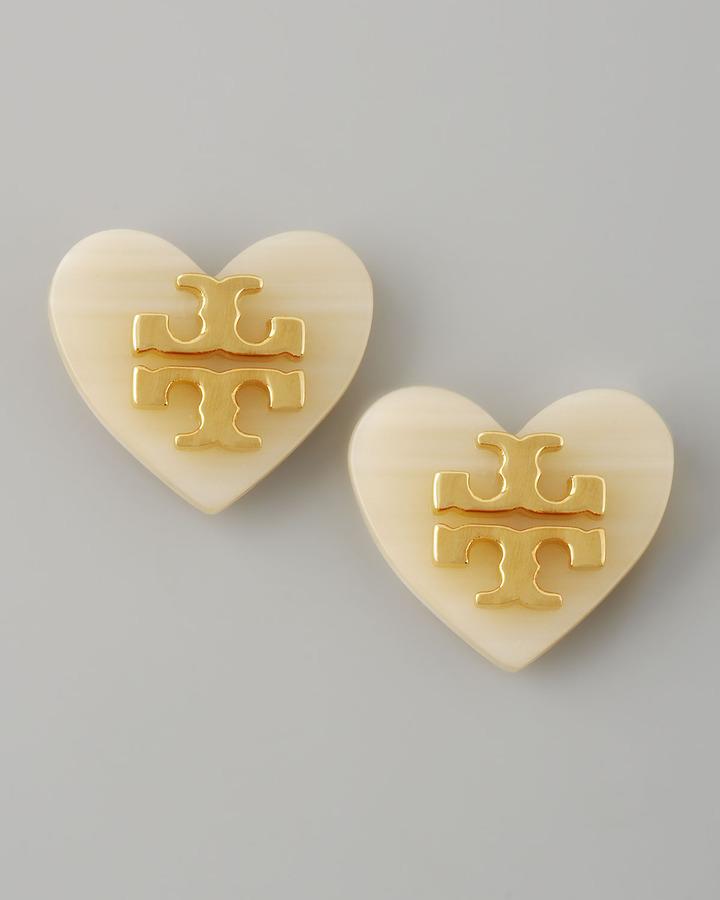 Tory Burch Logo Heart Stud Earrings, White