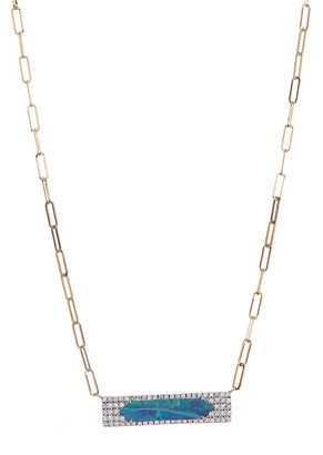 Meira T 14K Yellow Gold Opal & Pave Diamond Bar Pendant Chain Link Necklace
