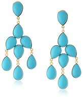Yochi 14k Gold-Plated Synthetic-Turquoise Chandelier Clip-On Earrings, 3.5""