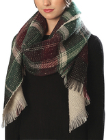 Pure Style Girlfriends Green & Burgundy Plaid Scarf