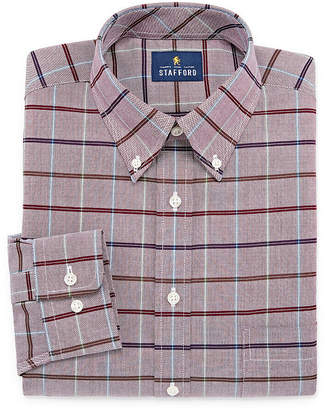 STAFFORD Stafford Travel Wrinkle-Free Stretch Oxford Mens Button Down Collar Long Sleeve Dress Shirt