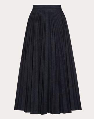 Valentino Pleated Denim Skirt Women Dark Blue 100% Cotone 40