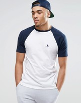 Asos Logo T-shirt With Contrast Raglan Sleeves In White/navy