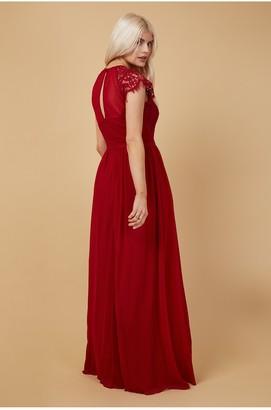 Little Mistress Bridesmaid Sonja Red Lace Maxi Dress