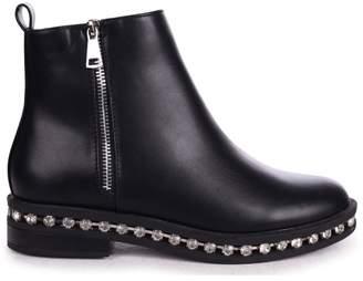 Linzi WINONA - Black Nappa Chelsea Boot With False Zip & Diamante Trim Around Sole